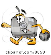 Clipart Picture Of A Camera Mascot Cartoon Character Holding A Bowling Ball