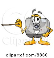 Clipart Picture Of A Camera Mascot Cartoon Character Holding A Pointer Stick