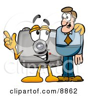 Clipart Picture Of A Camera Mascot Cartoon Character Talking To A Business Man