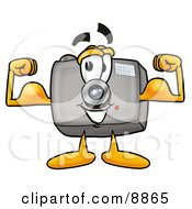 Clipart Picture Of A Camera Mascot Cartoon Character Flexing His Arm Muscles