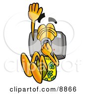 Clipart Picture Of A Camera Mascot Cartoon Character Plugging His Nose While Jumping Into Water