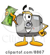 Clipart Picture Of A Camera Mascot Cartoon Character Holding A Dollar Bill