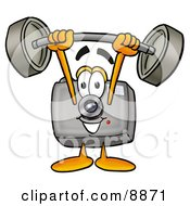 Clipart Picture Of A Camera Mascot Cartoon Character Holding A Heavy Barbell Above His Head