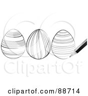 Royalty Free RF Clipart Illustration Of A Pen Sketching Black And White Easter Eggs