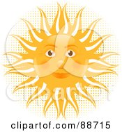 Royalty Free RF Clipart Illustration Of A Friendly Sun Face Over Halftone And White