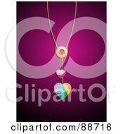 Royalty Free RF Clipart Illustration Of A Golden Chain With Pink And Rainbow Heart Pendants