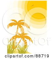 Royalty Free RF Clipart Illustration Of A Sun With Halftone Dots Shining On Palm Trees And Grass