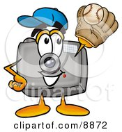 Clipart Picture Of A Camera Mascot Cartoon Character Catching A Baseball With A Glove