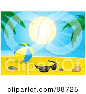 Royalty Free RF Clipart Illustration Of A Tropical Sun Shining Down On A Beach Ball Shells Stones And Glasses Near Palm Trees On A Beach