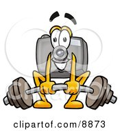 Clipart Picture Of A Camera Mascot Cartoon Character Lifting A Heavy Barbell by Toons4Biz