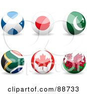 Royalty Free RF Clipart Illustration Of A Digital Collage Of Shiny 3d Scotland Japan Pakistan South African Canada And Whales Spheres