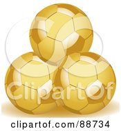 Royalty Free RF Clipart Illustration Of Three Stacked Golden Soccer Balls by elaineitalia