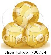 Royalty Free RF Clipart Illustration Of Three Stacked Golden Soccer Balls by elaineitalia