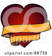 Royalty Free RF Clipart Illustration Of A Blank Yellow Ribbon Banner Winding Around A Red Heart