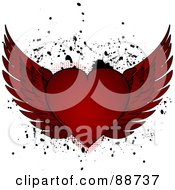 Royalty Free RF Clipart Illustration Of A Red Winged Heart Over Black Splatters On White by elaineitalia
