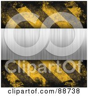 Royalty Free RF Clipart Illustration Of A Blank Brushed Metal Plaque Bordered With Grungy Black And Yellow Hazard Stripes by Arena Creative