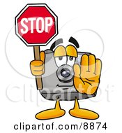Clipart Picture Of A Camera Mascot Cartoon Character Holding A Stop Sign by Toons4Biz