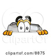 Clipart Picture Of A Camera Mascot Cartoon Character Peeking Over A Surface by Toons4Biz