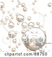 Royalty Free RF Clipart Illustration Of A Background Of Shiny Chrome Bubbles Over White by Arena Creative