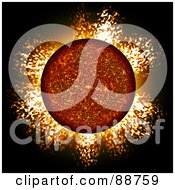 Royalty Free RF Clipart Illustration Of A Fiery Planet With A Blazing Atmosphere by Arena Creative