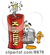 Clipart Picture Of A Camera Mascot Cartoon Character Standing With A Lit Stick Of Dynamite
