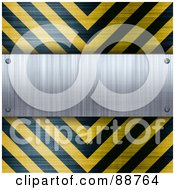 Royalty Free RF Clipart Illustration Of A Blank Brushed Aluminum Plaque Bordered With Black And Yellow Hazard Stripes by Arena Creative