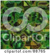 Royalty Free RF Clipart Illustration Of A Green Computer Circuitry Background Pattern by Arena Creative