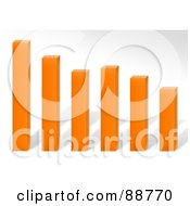 Royalty Free RF Clipart Illustration Of A 3d Orange Declining Bar Graph Over Gray by Arena Creative