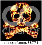Fiery Skull With Crossbones Over Black