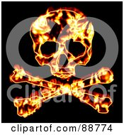 Royalty Free RF Clipart Illustration Of A Fiery Skull With Crossbones Over Black by Arena Creative