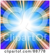 Royalty Free RF Clipart Illustration Of A Bright White With Gradient Rays Over Blue by Arena Creative