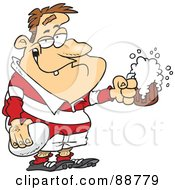 Royalty Free RF Clipart Illustration Of A Drunk Rugby Player Holding A Ball And Frothy Beer by toonaday #COLLC88779-0008