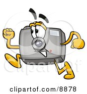 Clipart Picture Of A Camera Mascot Cartoon Character Running