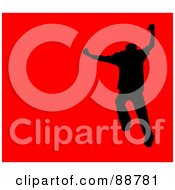 Royalty Free RF Clipart Illustration Of A Jumping Silhouetted Man Over Red