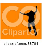 Royalty Free RF Clipart Illustration Of A Jumping Silhouetted Man Over Orange by Arena Creative