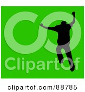 Royalty Free RF Clipart Illustration Of A Jumping Silhouetted Man Over Green by Arena Creative
