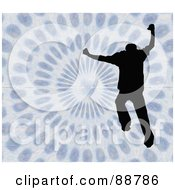 Royalty Free RF Clipart Illustration Of A Jumping Silhouetted Man Over A Vortex by Arena Creative