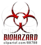 Royalty Free RF Clipart Illustration Of A Red Bio Hazard Symbol With Text Over White