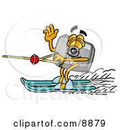 Clipart Picture Of A Camera Mascot Cartoon Character Waving While Water Skiing by Toons4Biz