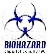 Royalty Free RF Clipart Illustration Of A Blue Bio Hazard Symbol And Text by Arena Creative