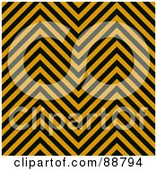 Royalty Free RF Clipart Illustration Of A Background Of Black And Orange Zig Zag Hazard Stripes