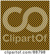 Royalty Free RF Clipart Illustration Of A Background Of Rows Of Black And Orange Zig Zag Hazard Stripes