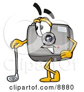 Clipart Picture Of A Camera Mascot Cartoon Character Leaning On A Golf Club While Golfing by Toons4Biz