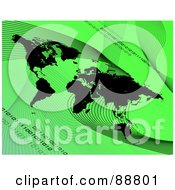 Royalty Free RF Clipart Illustration Of A Black Atlas With Mesh Waves And Binary Over Green