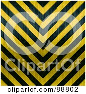 Royalty Free RF Clipart Illustration Of A Background Of Yellow And Black Zig Zag Hazard Stripes With Carbon Fiber