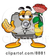 Clipart Picture Of A Camera Mascot Cartoon Character Holding A Red Rose On Valentines Day by Toons4Biz