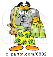 Camera Mascot Cartoon Character In Green And Yellow Snorkel Gear
