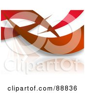 Royalty Free RF Clipart Illustration Of Red Swooshes Over White