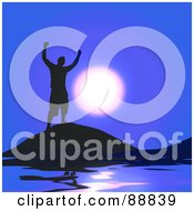 Royalty Free RF Clipart Illustration Of A Successful Silhouetted Guy Against A Blue Sky And Moon by Arena Creative