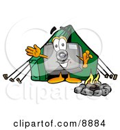 Camera Mascot Cartoon Character Camping With A Tent And Fire